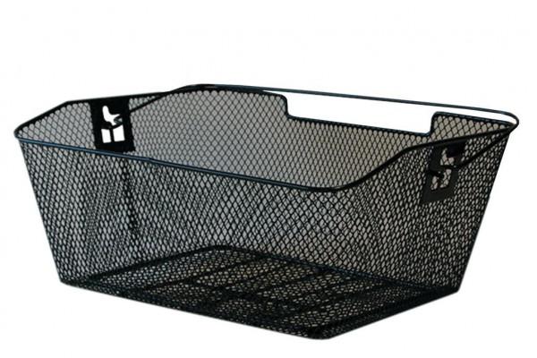 Hinterradkorb PVC 39x30x17cm,schwarz,engmaschig,abgeschrä.