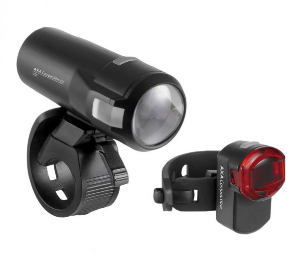AXA LED-Akkuscheinw. Compactline 20 Set USB inkl Rücklicht Copactline
